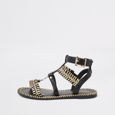Black caged gold sandal