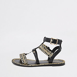 Black caged gold tone sandals