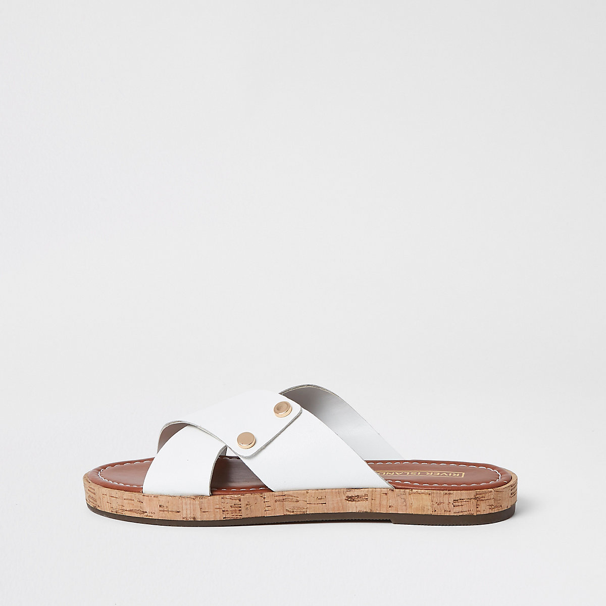 White leather cross strap mules
