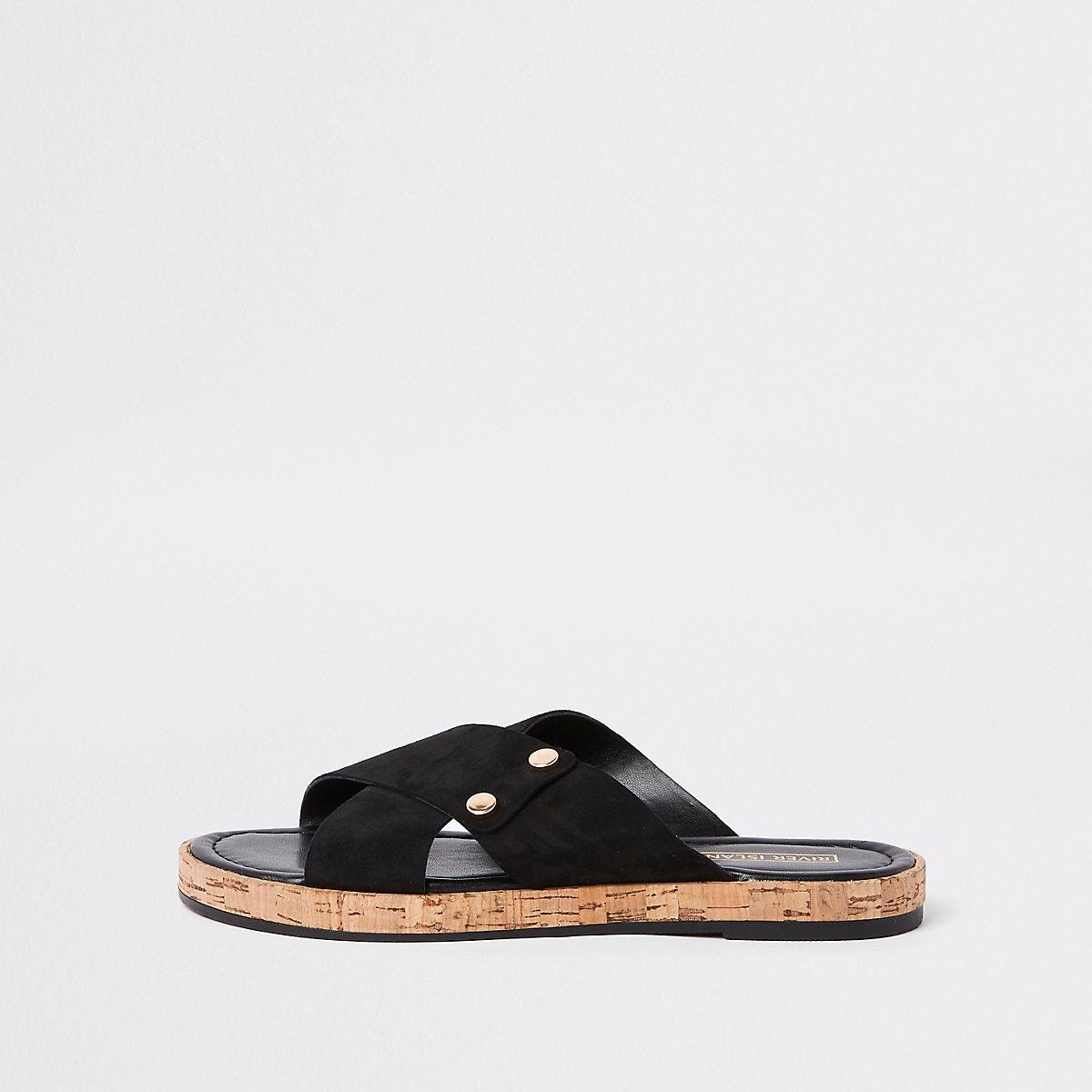 Black leather square cross strap mules
