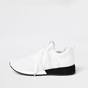 White lace-up runner sneakers