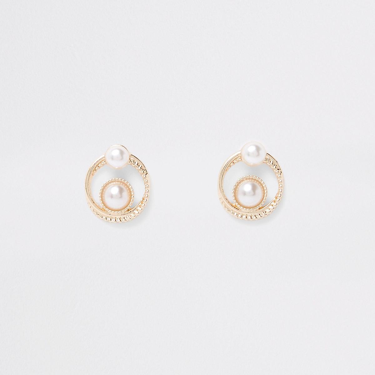 Gold tone double pearl swirl stud earrings