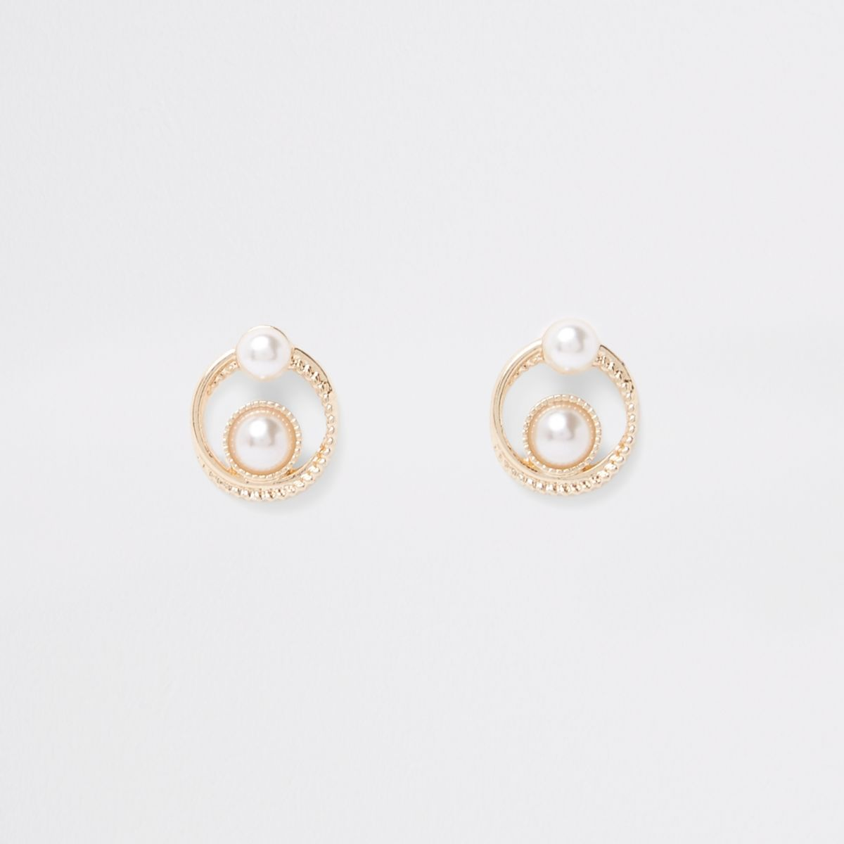 Gold tone double pearl swirl stud earrings