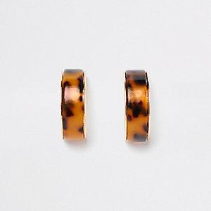 Gold tone leopard print chunky hoop earrings