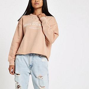 Petite pink 'mots d'amour' pearl sweatshirt