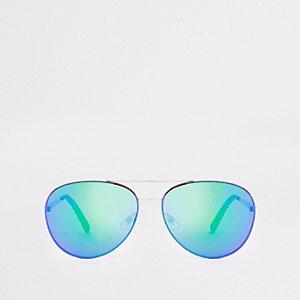 Goldene Pilotensonnenbrille mit blauen Gläsern