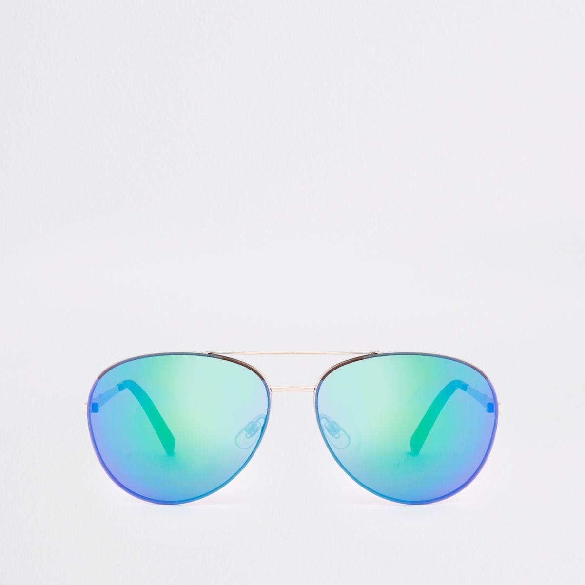 Gold tone blue lens aviator sunglasses