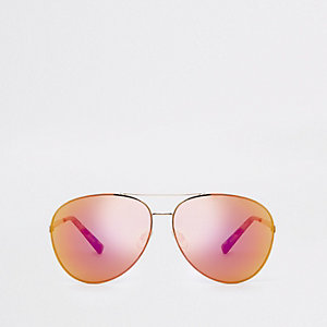 Gold tone red lens aviator sunglasses