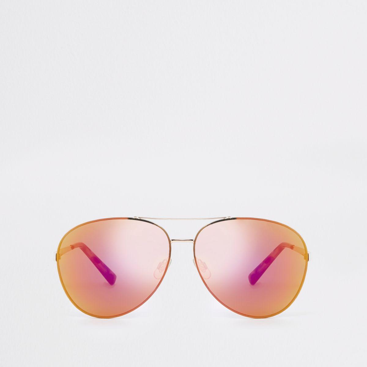 Gold tone red lens aviator sunglasses