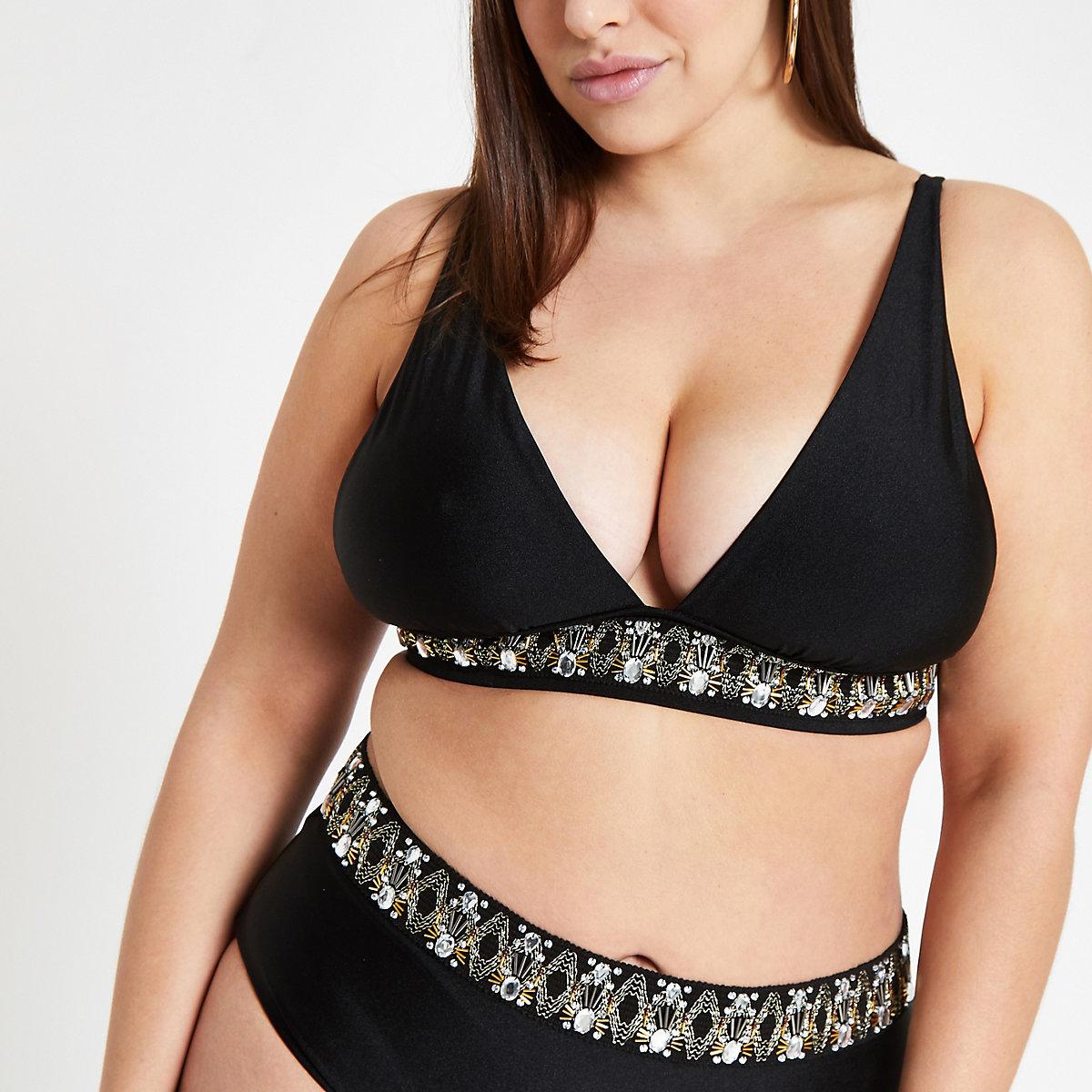 Plus black embellished triangle bikini top