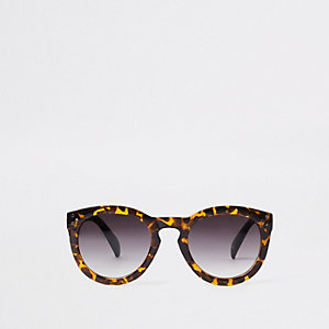 Brown leopard print smoke lens sunglasses