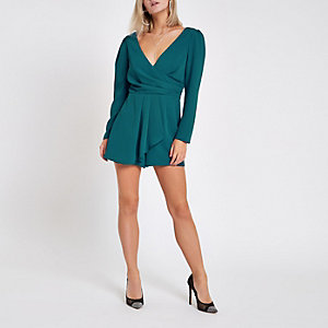 Petite teal wrap front tie back romper