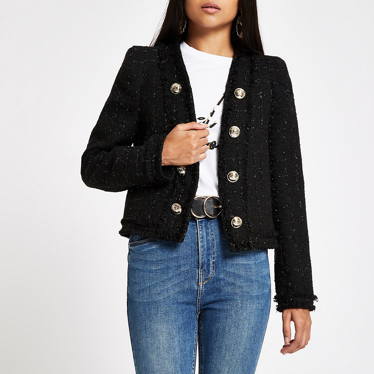 Petite black boucle jacket