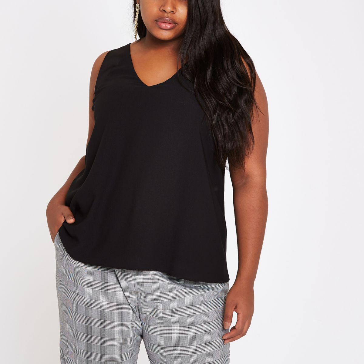 Plus black V neck sleeveless bar back top