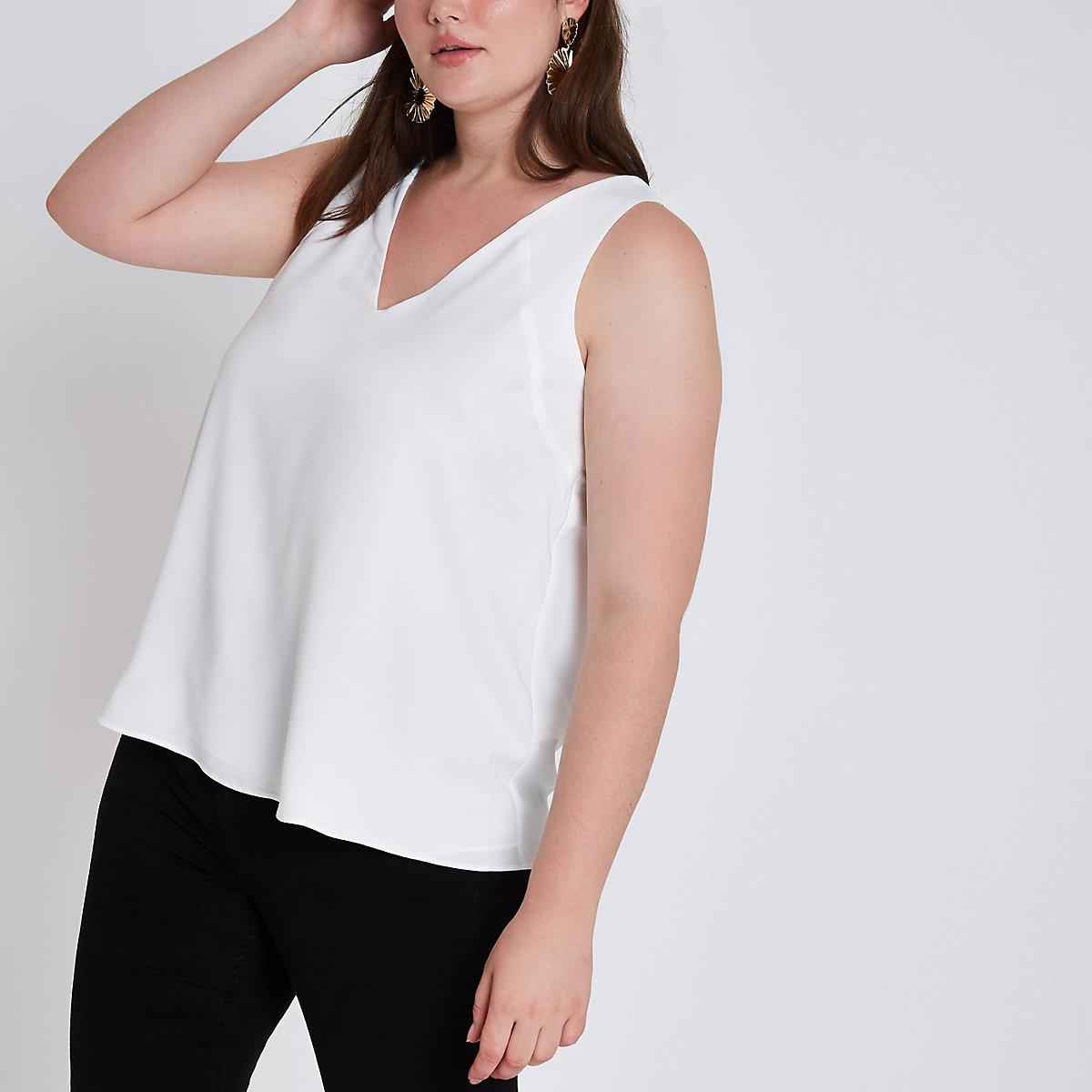 Plus white v neck cami top