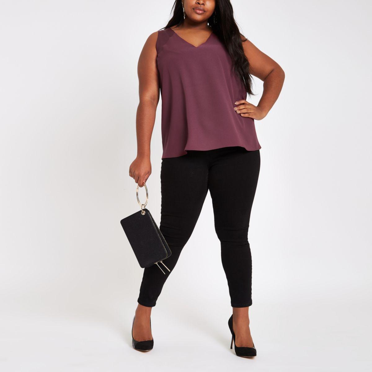 Plus burgundy V neck sleeveless bar back top
