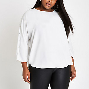 RI Plus - Crème blouse met verfraaide mouwen