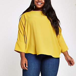 Plus yellow loose fit batwing sleeve top