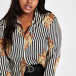 Plus black stripe print button-up shirt