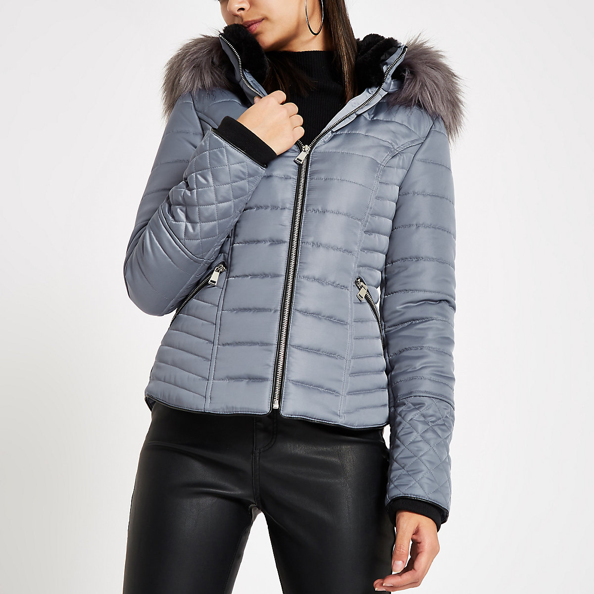 Blue Faux Fur Hood Long Sleeve Padded Jacket Jackets Coats