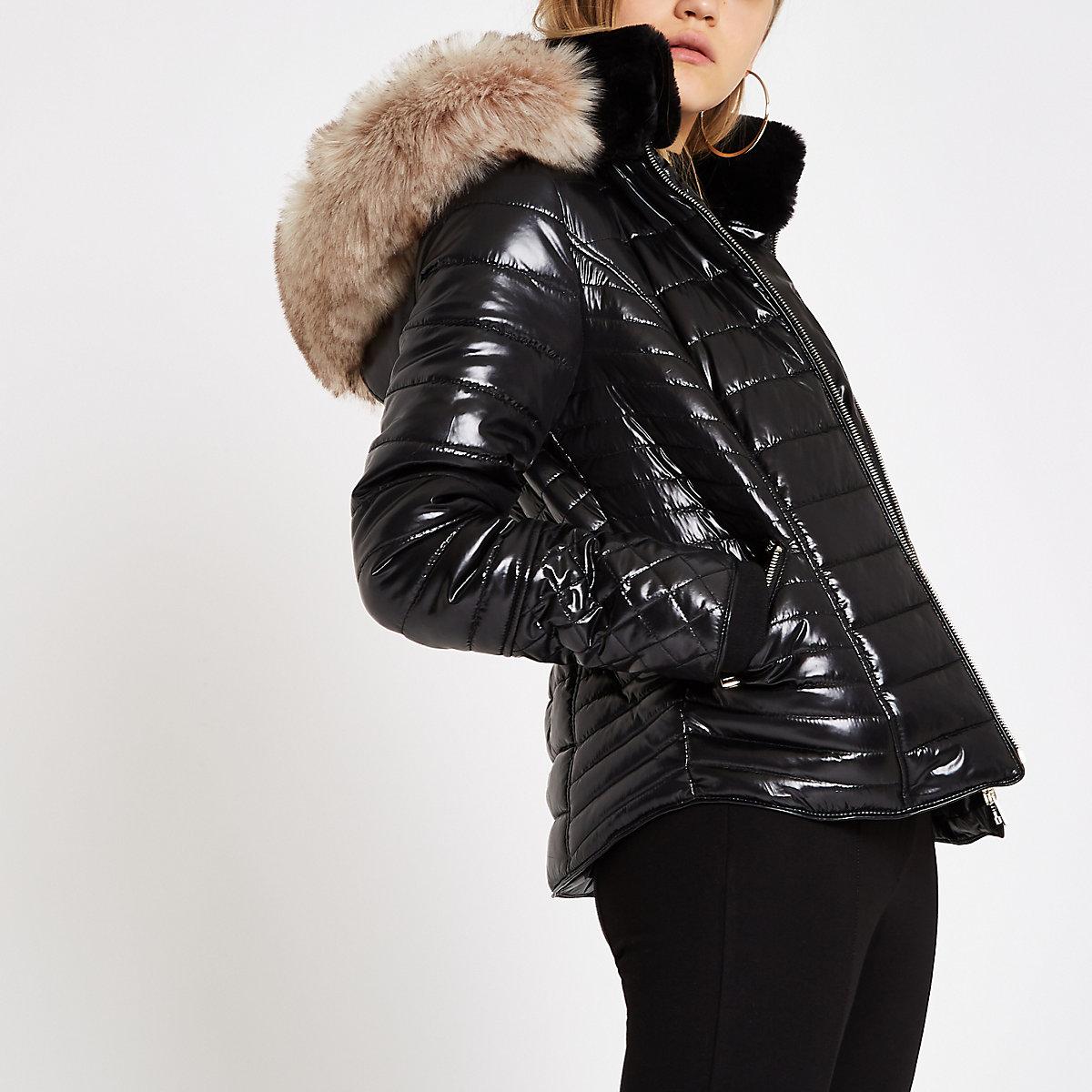 Black faux fur trim high shine puffer jacket