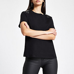 Black rhinestone embellished shoulder T-shirt