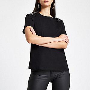 Zwart T-shirt met siersteentjes op de schouders