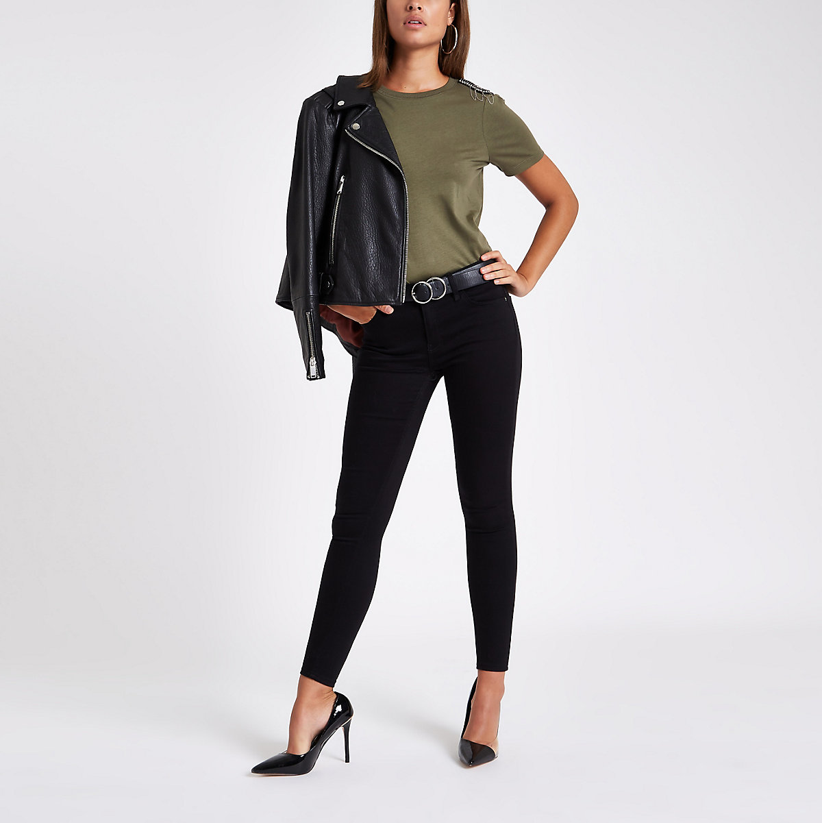 Khaki green embellished shoulder T-shirt