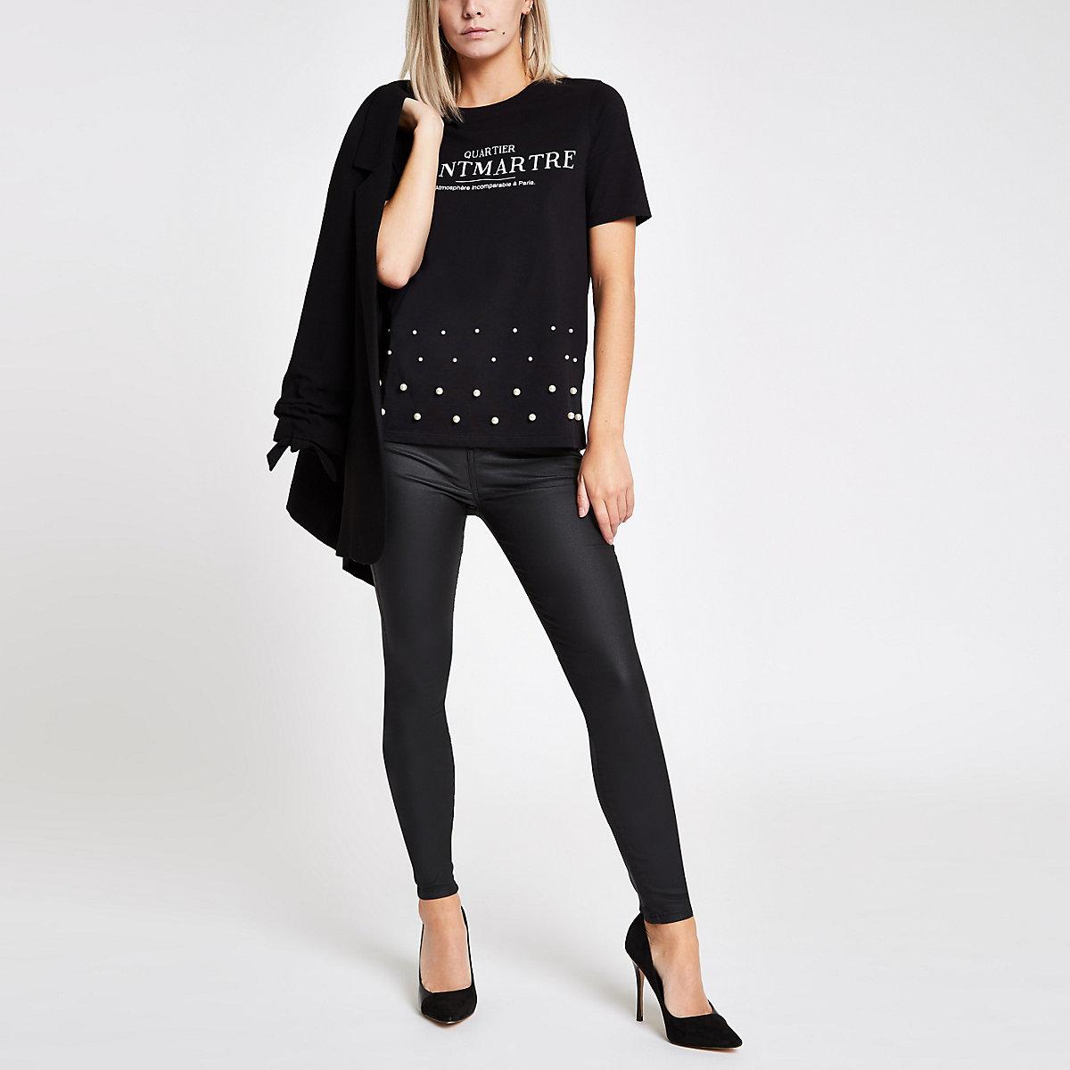 Petite black 'Montmartre' studded hem T-shirt