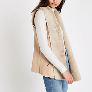 Light brown faux suede vest