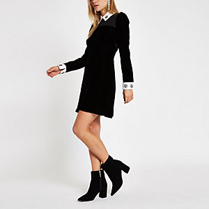 Black velvet embellished collar mini dress