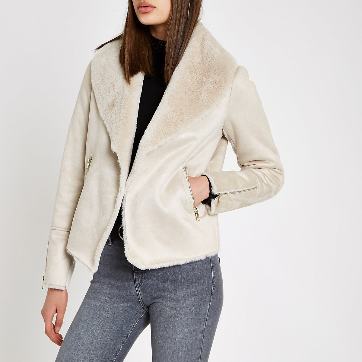 Cream fallaway faux suede jacket