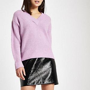 Pull en maille côtelée luxueuse violet clair à col en V
