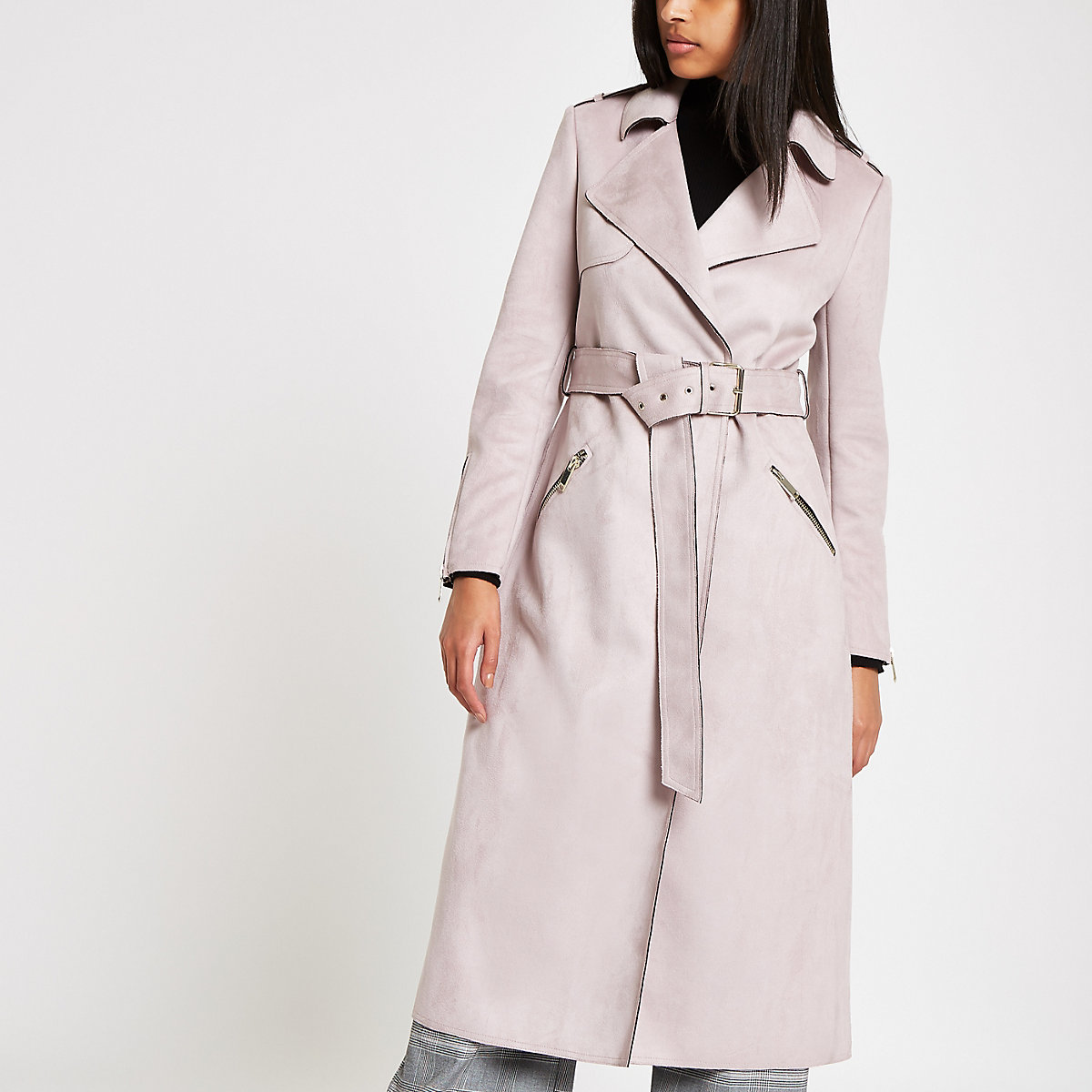Light purple faux suede belted trench coat