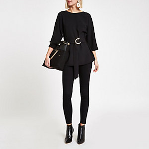 Black belted fitted tunic top