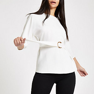 White belted tunic top