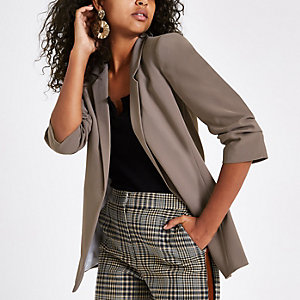 Grey ruched sleeve popper blazer