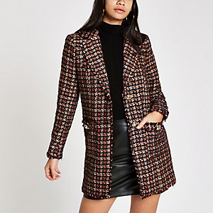 Red check boucle double breast jacket