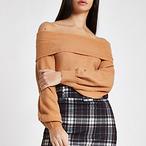 Light brown knit bardot jumper