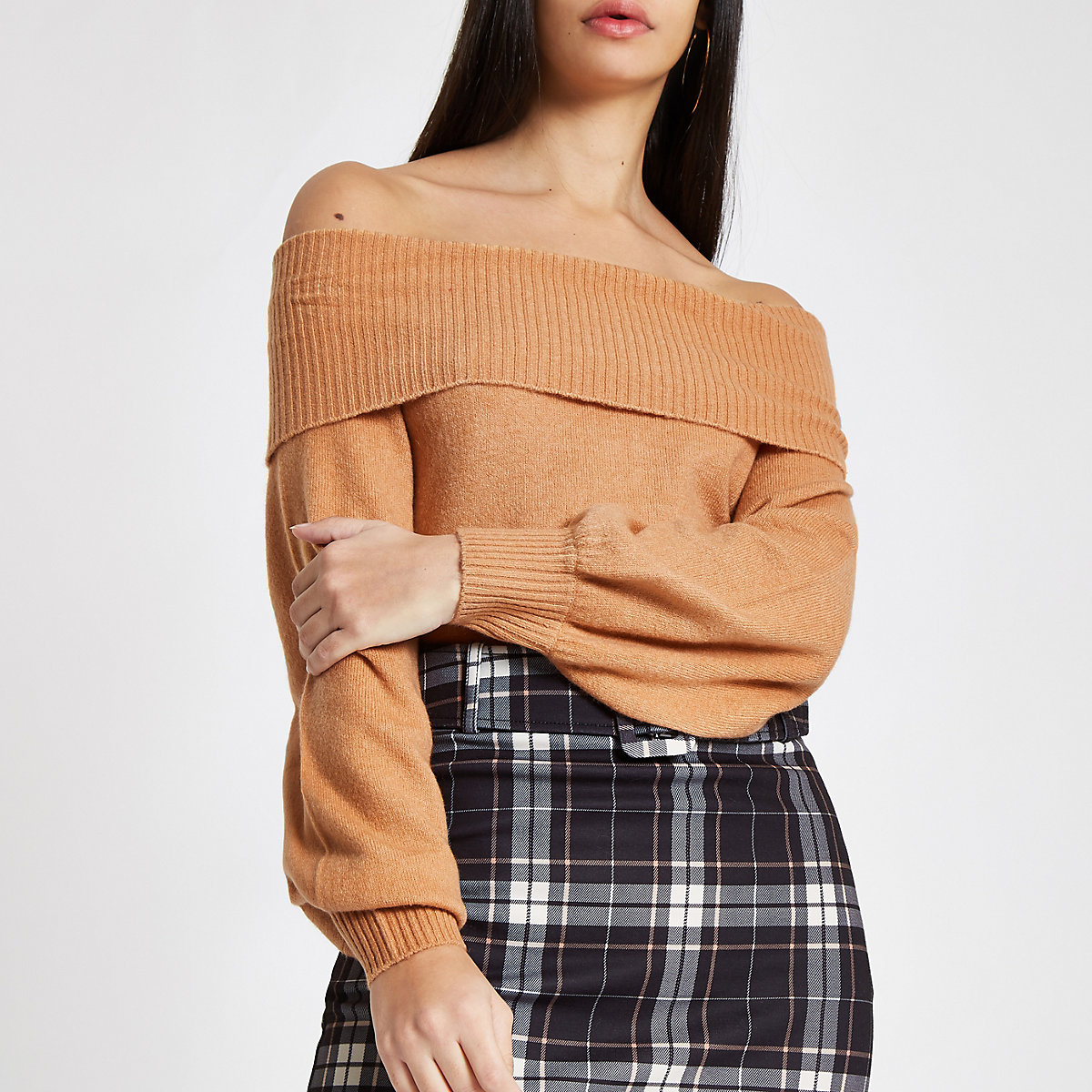Light brown knit bardot sweater