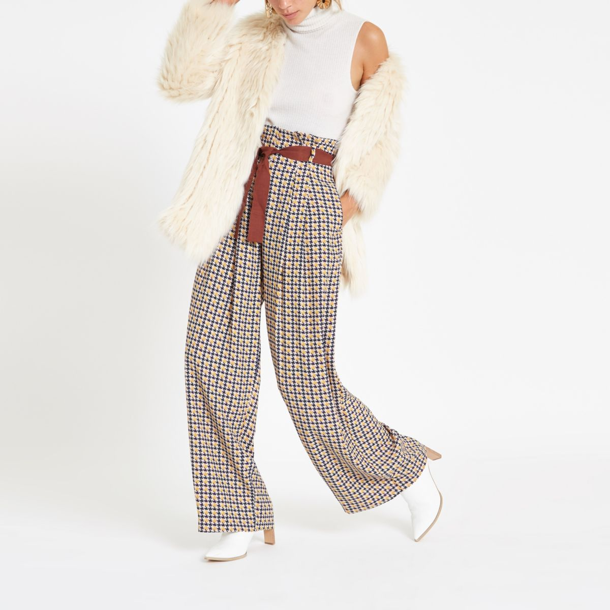 Brown printed wide leg belted pants