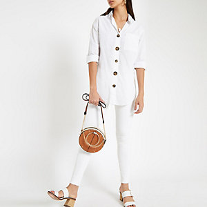 White button front cotton shirt