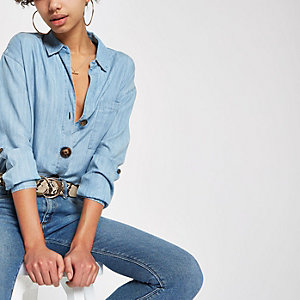 Blue button down front denim shirt