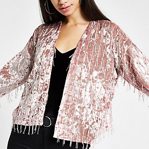 Light pink fringe trophy jacket