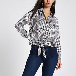 Grey check print tie front long sleeve shirt