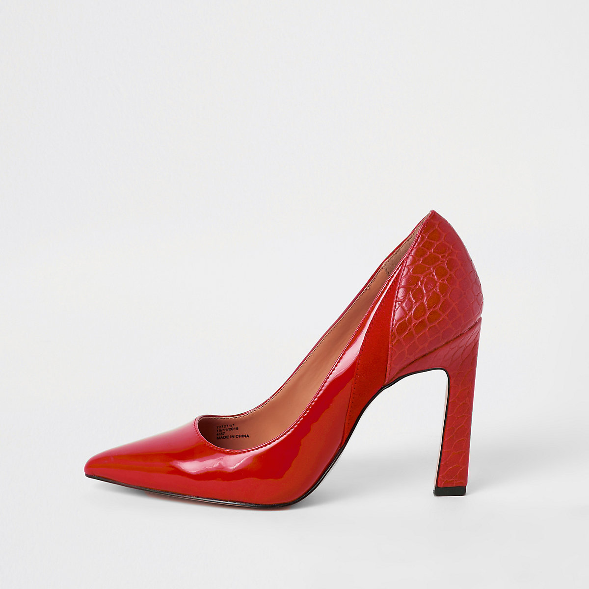 Red spliced croc heel pumps