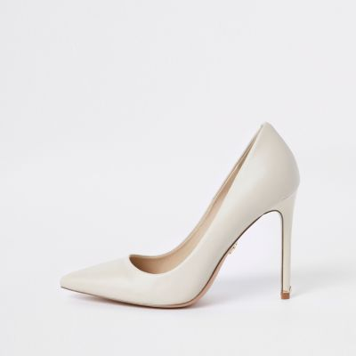 Bone Leather Court Shoes by River Island