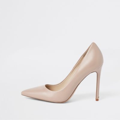 Light Pink Leather Court Shoes by River Island