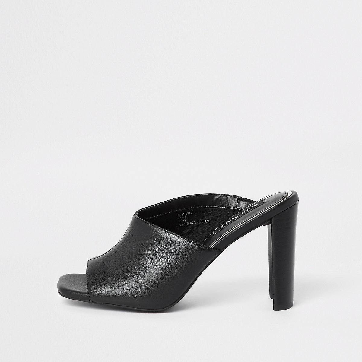 Black leather asymmetric block heel sandal