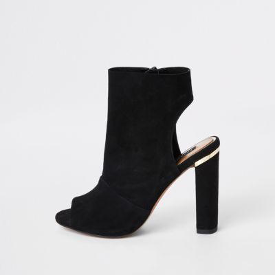 Black Suede Side Zip Shoe Boot by River Island
